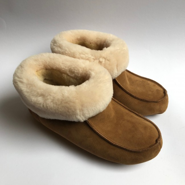 New Zealand Boots Folded slipper cognac OUTLET