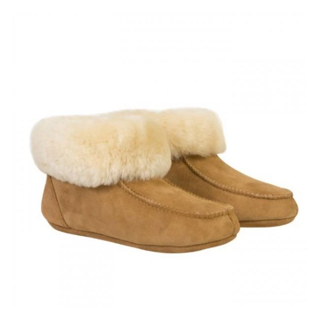 New Zealand Boots Folded slipper cognac